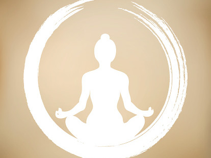 Vector Woman Doing Yoga with Zen Circle